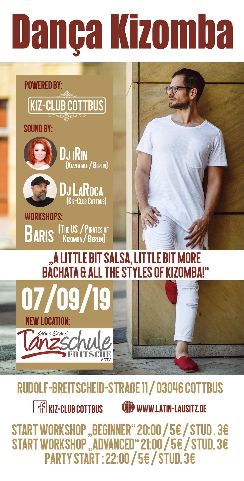 Danca Kizomba 2019-09-07 Cottbus Tanzschule Fritsche Flyer