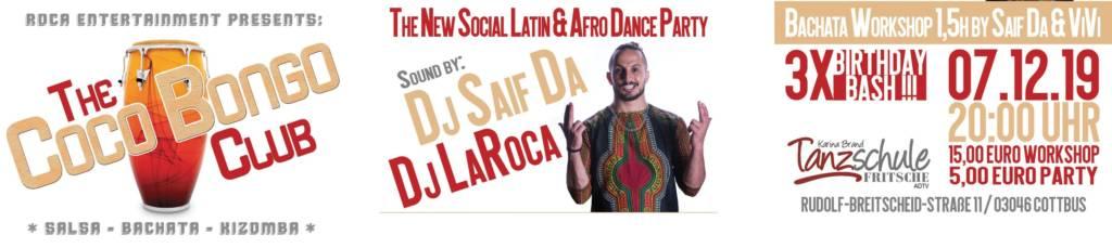 Coco Bongo Club Flyer 07.12.2019 Tanzschule Fritsche